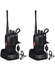 Walkie Talkie UHF 400-470MHz con Auriculares - BaoFeng 2 Vías de Radio 16 Canales - Linterna LED Recargable 5W - Trasmisor FM Alcance Hasta 5km - Negro, 2 Unidades