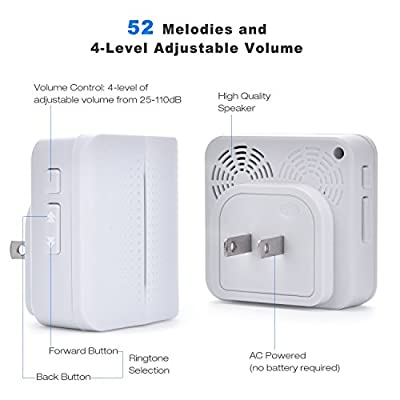 Wireless Doorbell Waterproof Chime Kit Operating at 1000 Feet 52 Chimes 4 Level Volume 1 Receiver & 2 Remote Push Button Transmitter with Sound and LED Flash for Kids Morning Call Alarm Clock