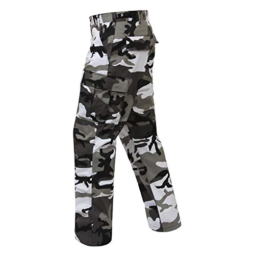 Camouflage Military BDU Pants, Army Cargo Fatigues (City Camouflage, Size Large)