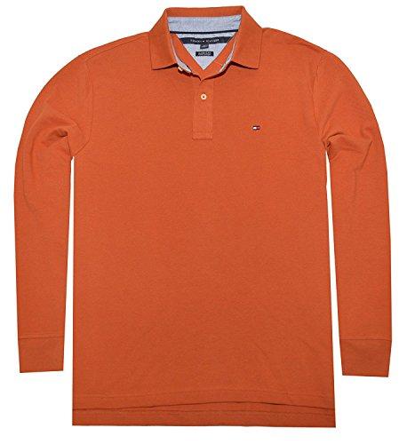 Tommy Hilfiger Mens Long Sleeve Mesh Polo Shirt (X-Large, Burnt Orange)