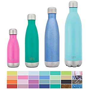 Simple Modern Stainless Steel Vacuum Insulated Double-Walled Wave Bottle, 25oz - Glacier Blue - Shimmering Collection