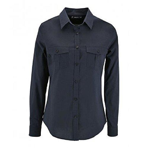 SOL'S Womens/Ladies Burma Roll Sleeve Poplin Shirt (M) (Dark Blue)