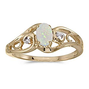 0.19 Carat (ctw) 10k Gold Oval White Opal and Diamond Accent Swirl Filigree Bypass Fashion Promise Ring (6 x 4 MM)