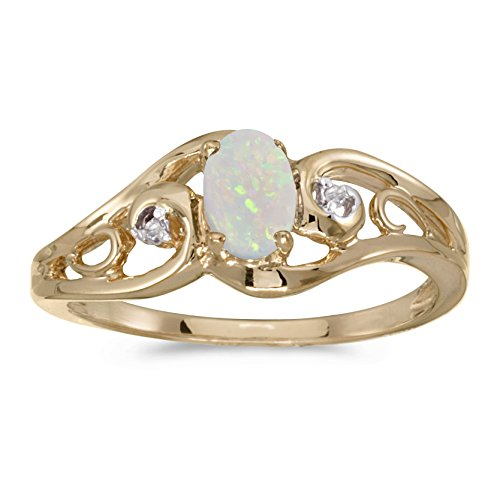 0.20 Carat ctw 10k Gold Oval White Opal & Diamond Accent Swirl Filigree Bypass Fashion Promise Ring - Yellow-gold, Size (Diamond Swirl Promise Ring)