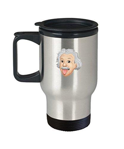 Albert Einstein Emoji Tounge Out Funny Travel Mug