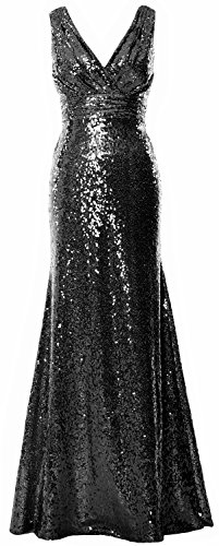 MACloth Women Long Bridesmaid Dress 2017 Sequin V Neck Formal Party Evening Gown Negro