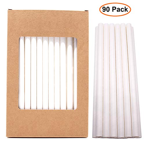 Paper Straws Wide Smoothies Milkshake Jumbo Bubble Tea Boba Straw Biodegradable Compostable Disposable Drinking Straw Wrapped in Bulk for Tumblers Party Bpa Dye Free White 10mm 0.4in 7.75 90pcs