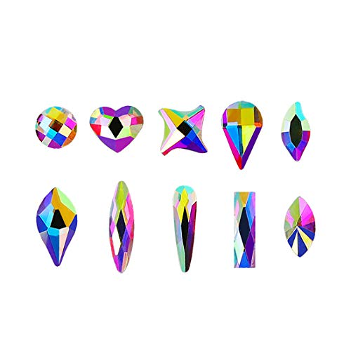 100pcs Ultra Sparkle&Shine AB Crystal Bead 10 Mixed Sizes Shapes Gold FlatBack Rhinestones Gems Pearls for 3D Nail Art Beauty Design Phone Case DIY Crafts-LONG LASTING AB SHINE Like Swarovski (Pack 1) ()