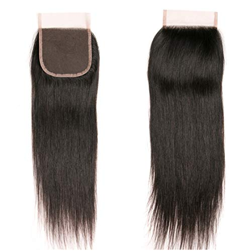 Brazilian Straight Hair With Closure 3 Bundles Unprocessed Virgin Human Hair Bundles With Lace Closure Free Part Hair Extensions Natural Color(12 14 16+10) by RUIMEISI (Image #5)