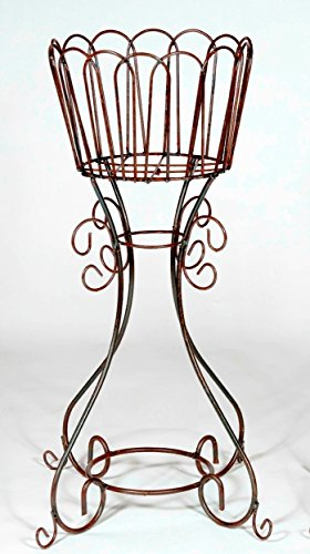 "34""t x 15.5""rd. Wrought Iron Deep Basket Plant Stand"