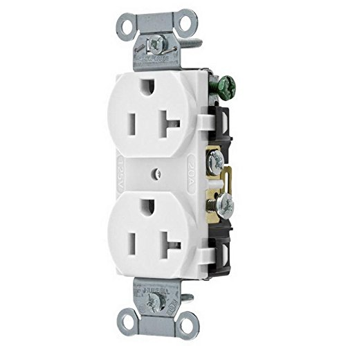 Hubbell CR20WHI Duplex Receptacle, Common Ground, 20 amp, 125V, 5-20R, White (Pack of ()