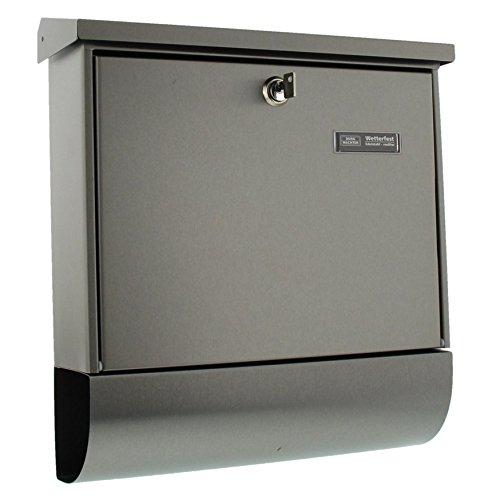 BURG-WÄCHTER, Edelstahlbriefkasten-Set mit Zeitungsbox, A4 Einwurf-Format, Vollflächig verzinkt, Edelstahl, Amrum-Set 38670 Ni
