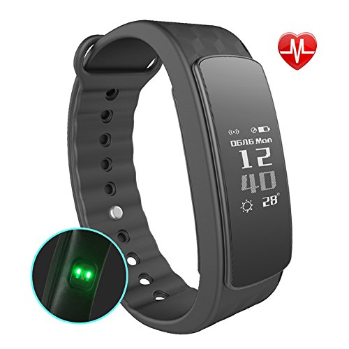 Fitness Tracker Watch, AUSVEV Heart Rate Monitor Smart Bracelet Wireless Bluetooth IP67 Waterproof Band Wristband with Health Sleep Activity Tracker Pedometer for iOS Android Phone (Black)