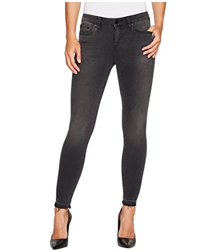 (Two by Vince Camuto Women's Black Released Hem Five-Pocket Ankle Jeans In Coal Wash Coal Wash 28)
