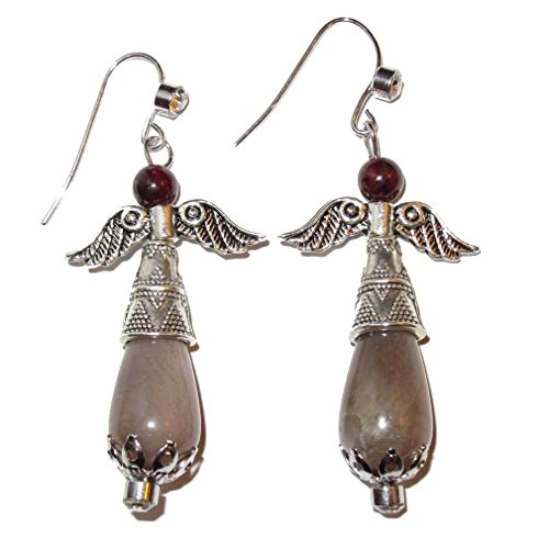 Moonstone Earrings Peach 03 Shimmer Sheen Protective Guardian Angel Goddess Garnet Stone Healing Crystal Easter 2.1