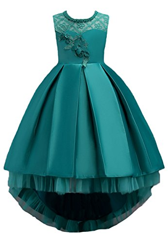 Price comparison product image OMZIN Girls Ruffles Dresses Baby Ball Gown Dress With Bowknot Green 2-3 Years