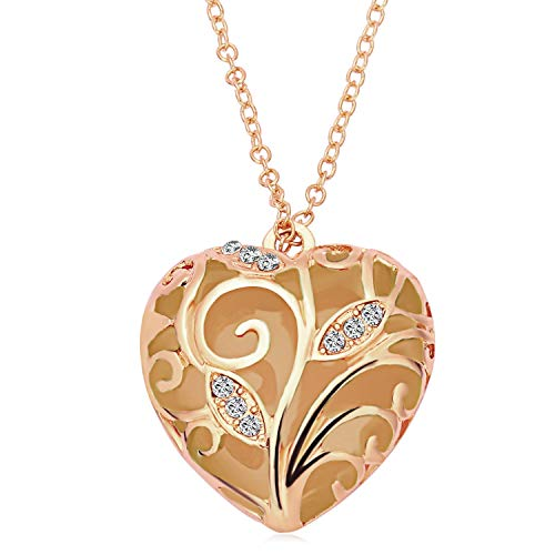 RINHOO Steampunk Magical Fairy Glow in The Dark Heart Charms Pendant Necklace White Gold Plated (Rose Gold-Blue)