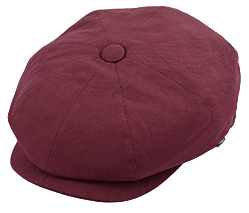 Deewang Mens Newsboy Cotton Driving Cap, Light Weight Cabbie, Applejack Cap (X-Large, Burgundy)