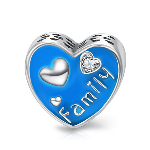 LONAGO Family Love Heart Shape Charm 925 Sterling Silver Blue Enamel Bead with Cubic Zirconia Jewely Gift for Mother Wife
