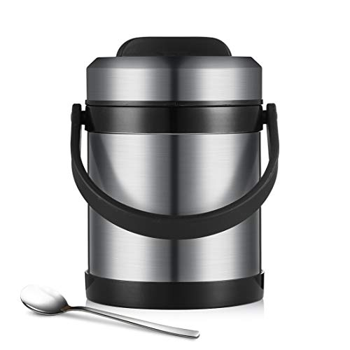 BEYONDA 81 Hot Pot Food Jar Kids Vacuum Insulated Flask 18/8 Stainless Steel Leak Proof Lunch Box Baby Food Storage Container Flask 2.0 L Steel Color (Best Food Flask For Hot Food)