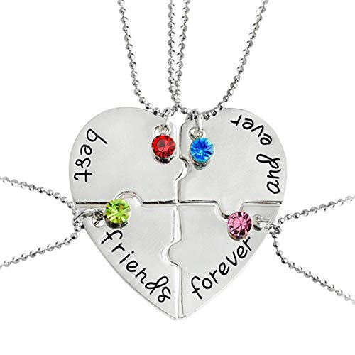 Best Friends Forever and Ever Necklace with Crystal Broken Heart Charm Pendant Set Friendship Necklace (Best Friends Forever Necklace 3 Piece)