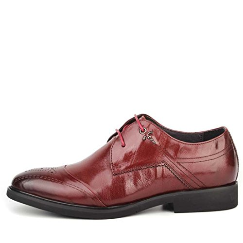 Mens Casual Work Lace-up Classic Multicolor Leather Vintage Oxford Shoes df Red 3OXWIET33