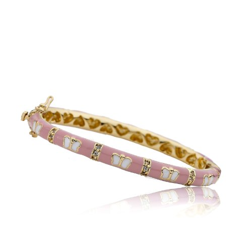 Little Miss Twin Stars Outfit Makers 14k Gold-Plated Pink Enamel Bangle Bracelet with Cubic Zirconia Lines and White Butterflies