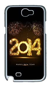 2014 Happy New Year Fireworks Custom Designer Samsung Galaxy Note 2/Note II / N7100 Case Cover - Polycarbonate - White
