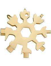 MOONIO 18-i-1 snöflingor multiverktyg guld av rostfritt stål, utomhusverktyg, bärbart verktyg kan öppna flaskor, multifunktionsverktyg gåva inkl. ring
