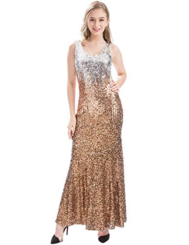 Neck Long Rose Mermaid Prom Sleeveless V Dress Sequin MANER Gold Coffee Formal Silver Women Evening Gowns EOqx4Iwfn