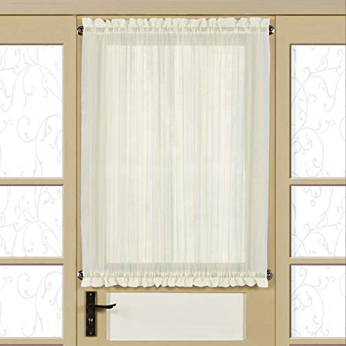 (bed bath n more Semi-Sheer 40 Inch Tailored Door Curtain Panel with Tieback - 40x60 Eggshell)