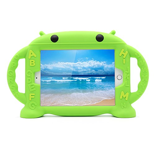 CHINFAI iPad Mini Case for Kids Shockproof Silicone Rubber Cover Cartoon Robot Stand Case with Handles for Apple iPad Mini 1 / Mini 2 / Mini 3 / Mini 4 (Green)