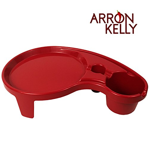 Arron Kelly  Party Pals  One Handed Drink Holder, Napkin, Cutlery & Food Serving Tray with Hidden Handle - Dark Red - Breakfast Table for 1