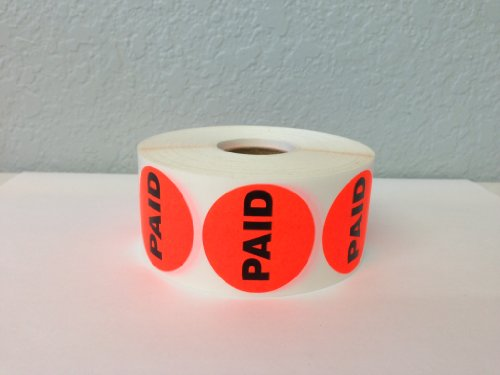 10,000 Labels of the 1.5-inch Round Bright Red PAID Retail Price Point Labels Stickers (10 Rolls of 1,000 Labels each Roll)