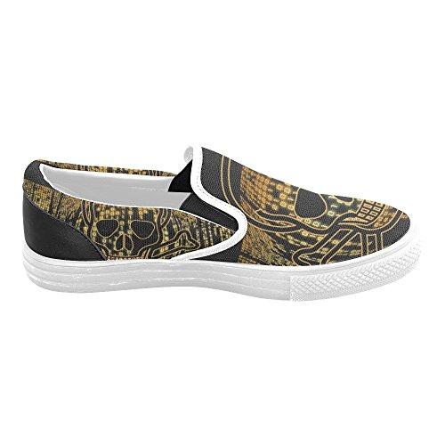 InterestPrint Schädel Slip-on Canvas Schuhe für Männer