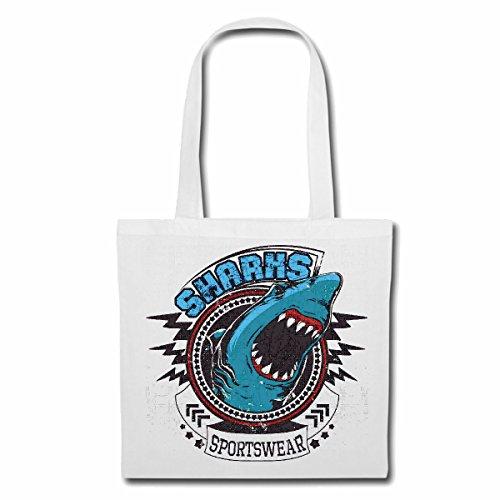 Tasche Umhängetasche HAIFISCH SHARKS SPORTWEAR HAI HAIFISCH SHARK ATTACK WEIßER HAI KATZENHAI SANDHAI TIGERHAI Einkaufstasche Schulbeutel Turnbeutel in Weiß