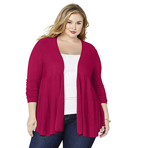 Avenue Women's Tiered Cardigan, 18/20 Fuchsia
