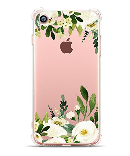 iPhone 7 Case iPhone 8 Case, Hepix Clear Soft TPU White Flowers Protective Bumper Floral Print Cover Case [4.7 inch]