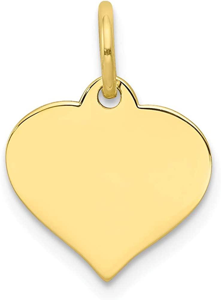 10k Yellow Gold Heart Disc Pendant Charm Necklace Engravable Curved Shaped Fine Jewelry Gifts For Women For Her