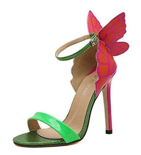 Aisun Moda Donna Carino Multicolor Farfalla Open Toe Fibbia Sandali Stiletto Scarpe Con Tacchi Alti Con Cinturini Alla Caviglia Verde