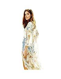 Coromose Floral Printed Half Sleeve Chiffon Kimono Cardigan Coat Tops Blouse