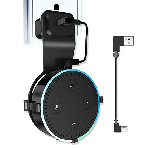 Echo Dot Wall Mount, Alexa Accessories Smart Home Outlet Wall Mount Stand for Amazon Echo 2nd Generation Speaker Holder with Charging Cord Cable (Echo)