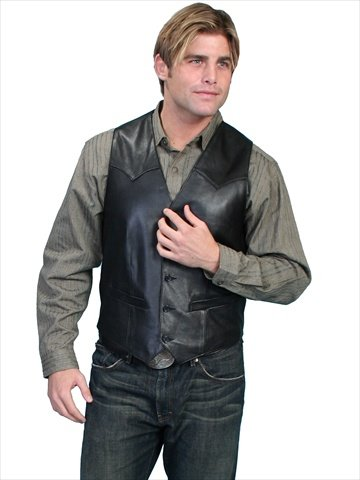 Scully 503-11-44 Mens Leather Wear Western Vest, Black Lamb, Size 44 ()