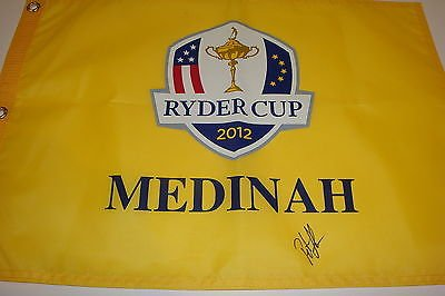 Peter Hanson Ryder Cup Signed Golf Flag 2012 Medinah Team Europe McIlroy