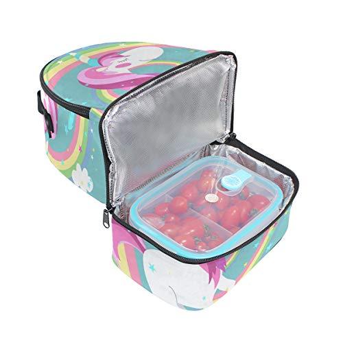 de ajustable diseño correa Bolso arco iris para picnic doble de almuerzo con unicornio UAxqwS6
