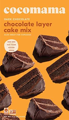 Dark Chocolate Cake (Cocomama Dark Chocolate Layer Cake Mix - Vegan Chocolate Baking Mix, Organic Fair Trade Cocoa Powder, Madagascar Vanilla Bean, Non GMO, Kosher, 15.3 oz)