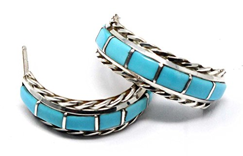 Zuni Handcrafted Artisan Turquoise Inlay Hoop Earrings By Chavez | 7/8