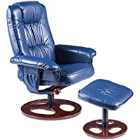 Furniture HotSpot – Faux Leather Recliner and Ottoman - 31.5 W x 30 D x 41 H (Royal Blue)