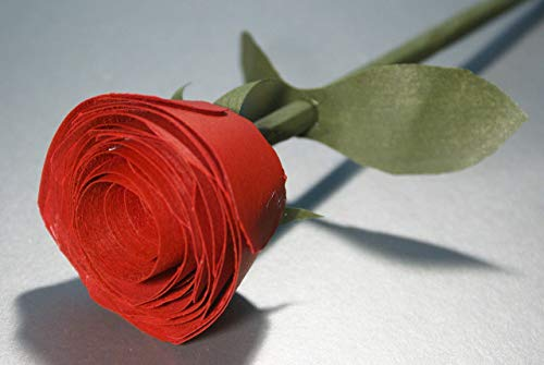 Wooden red rose handmade for 5 Year Anniversary, Romantic gift for her. Birthday flower, Thank you gift, Get well soon ()