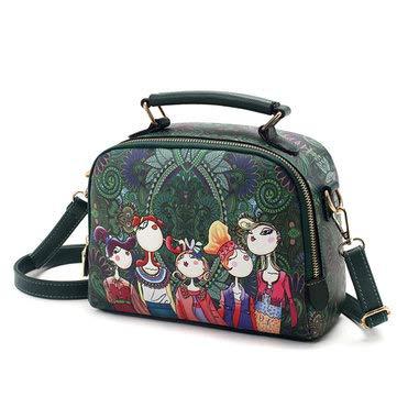 Women Forest Girl PU Wild Crossbody Bag Diagonal Handbag Shoulder bag Green Womens Bags Crossbody Bags